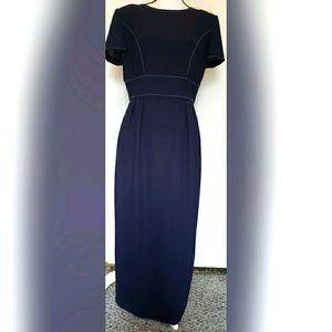 Donna Morgan Vintage Dark Navy Blue Dress White